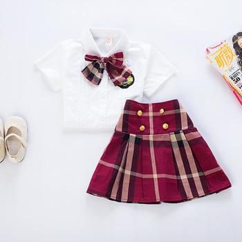 Kids Cloths School Uniform Design Girls Plaid Sets Of Skirt And Blouse Buy School Uniform Design Girls Sets Of Skirt And Blouse Kids Cloths Product
