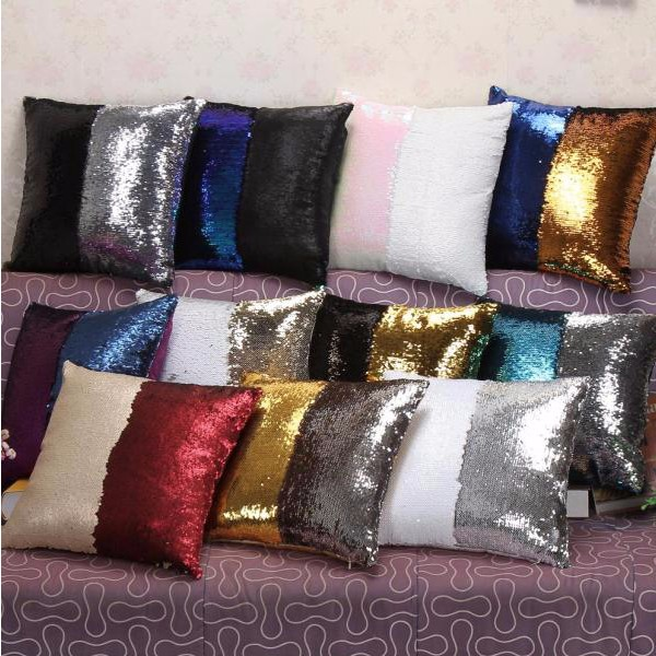 DIY Reversible Shinning Sequins Glitter Mermaid Pillow case Cover Throw Cushion Cover Magic Colors Home Decor Cojines
