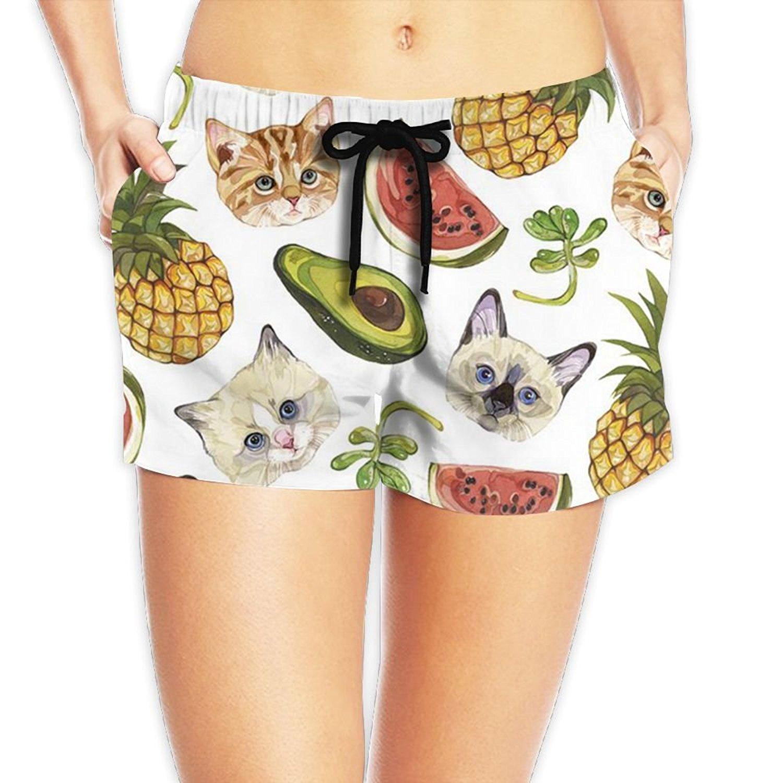 4c4e2625ea953 Get Quotations · PPANFKEI Womens Avocado Fruits Shorts Bathing Suit Shorts  Women