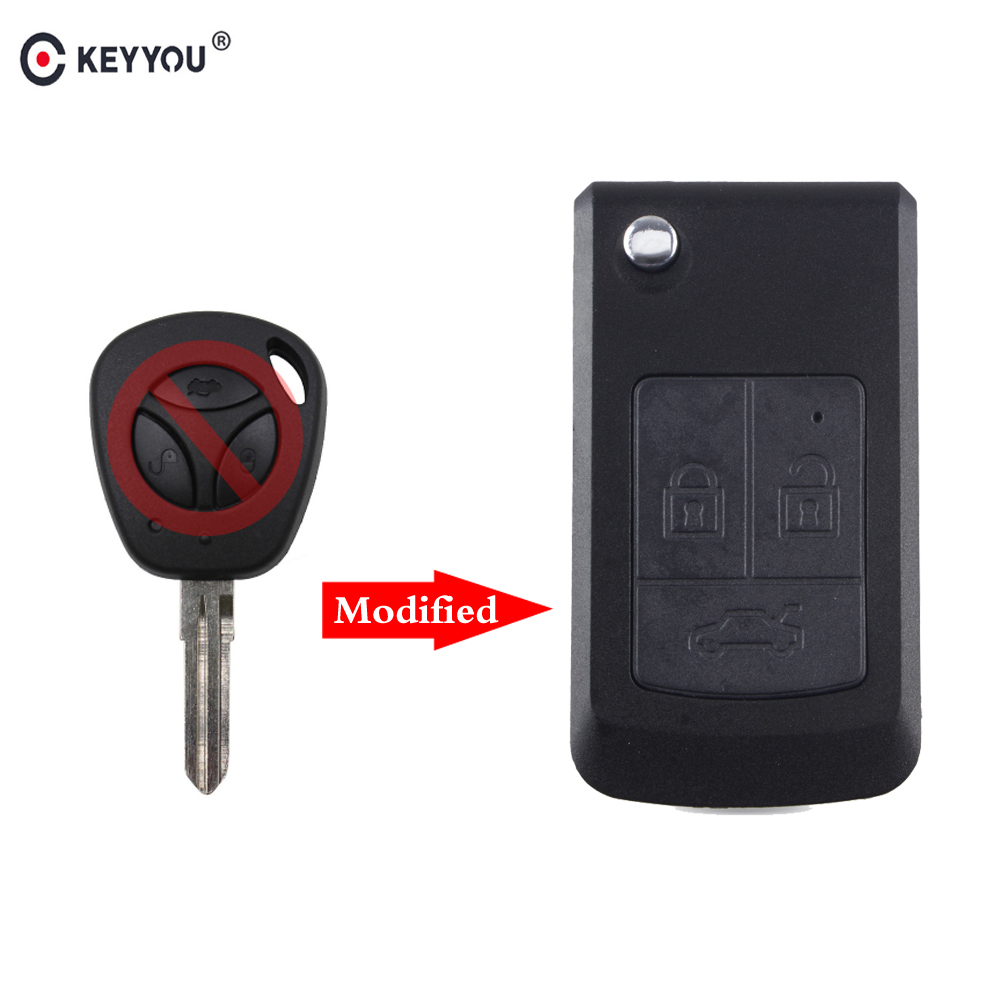 KEYYOU 3 Button Modified Flip Remote Car Key Shell For LADA Priora Niva Vaz Granta Samara 2108 XRay Sedan Remote Case Cover Fob