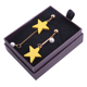 Wholesale Yellow Wood Star Pendant Long Gold Chain Pearl Drop Earrings
