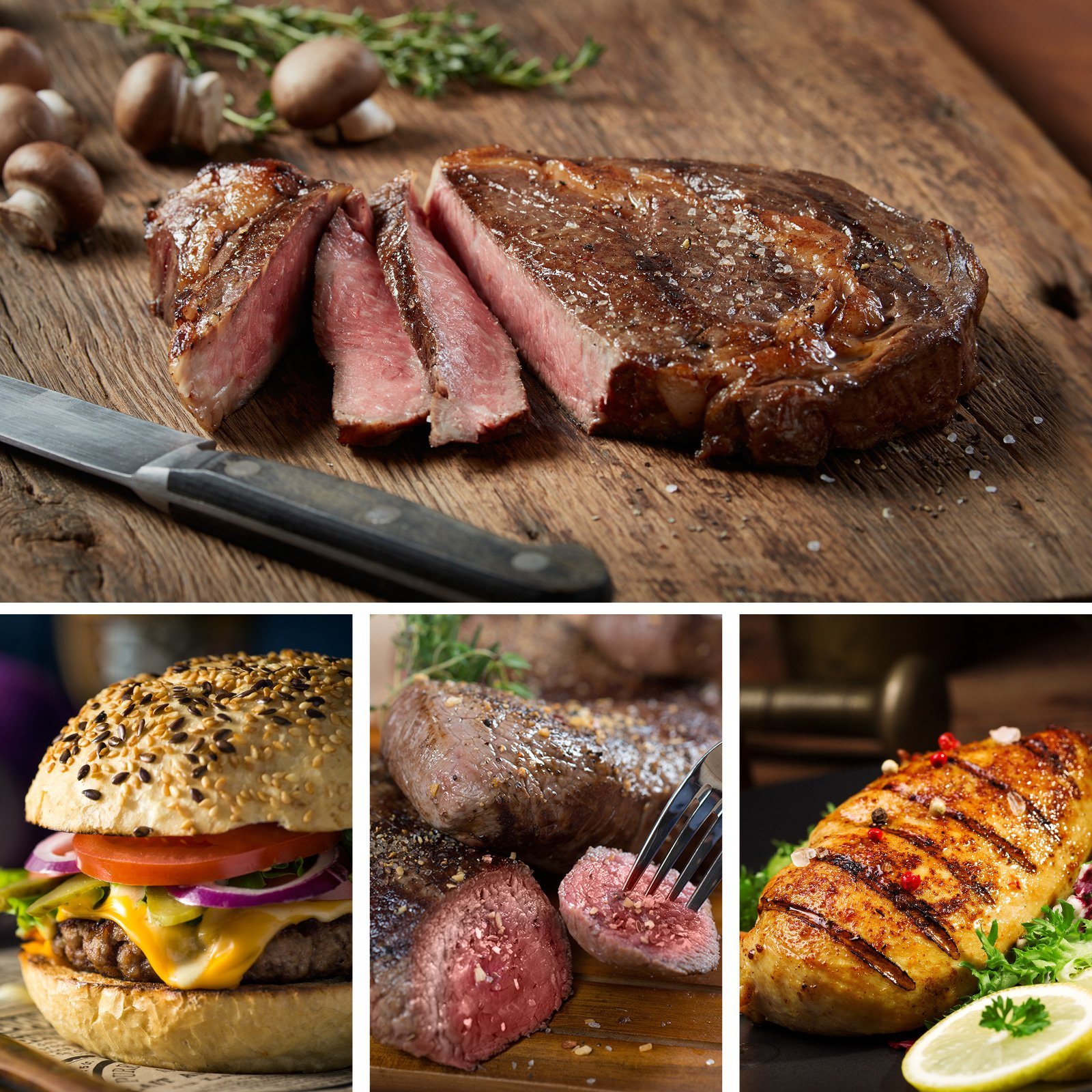 Ultimate Grilling Assortment - Includes Ribeye and Top Sirloin Steaks, Angus Steak Burgers, and Lemon Herb Chicken Breasts - Chicago Steak Company - ASSRT401