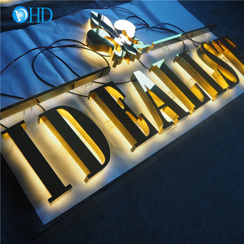 Custom designed illuminated/lighted stainless steel letter sign with waterproof LEDs for business branding