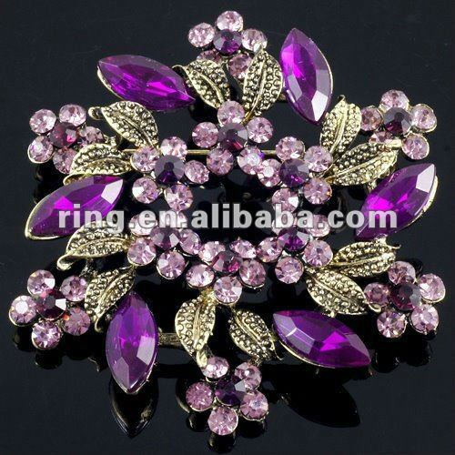 Attractive Flower Purple Crystal Layer Big Pin Brooch Deluxe