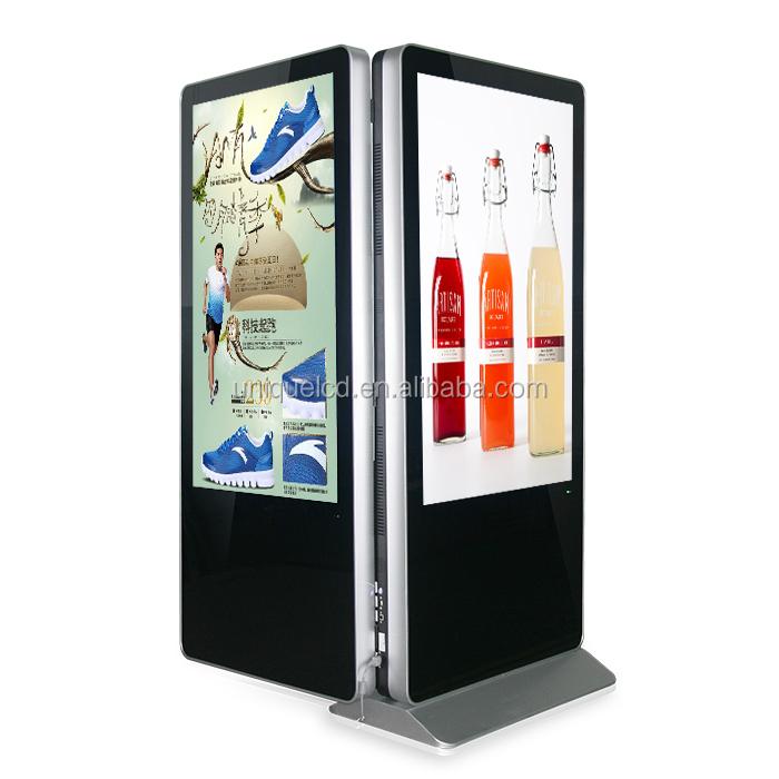 55 inch floor stand dubbelzijdig capacitieve touchscreen lcd verticale reclame monitor