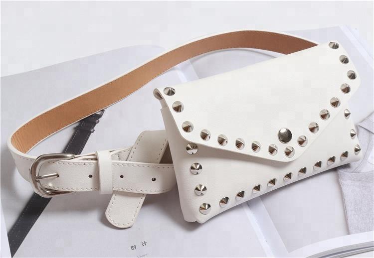 2018 Moda Remache Bolsa Decorativa Cinturón Desmontable Multi función Pequeños Bolsillos Bolso Del Teléfono Móvil De Cuero De Las Mujeres Cinturones