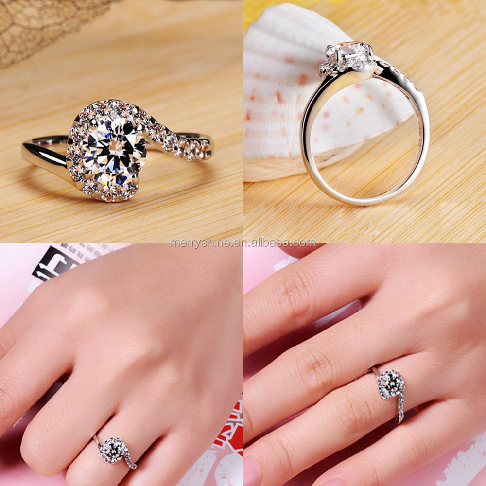 Eudora Wholesale Rhodium Plated White Copper Diamond Engagement Ring ...