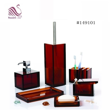 2018 New Design Dark Red Polyresin Bathroom Accessory Sets With Lotion Bottle/Tumbler/Soap Dish/Tray/Toothbrush Holder