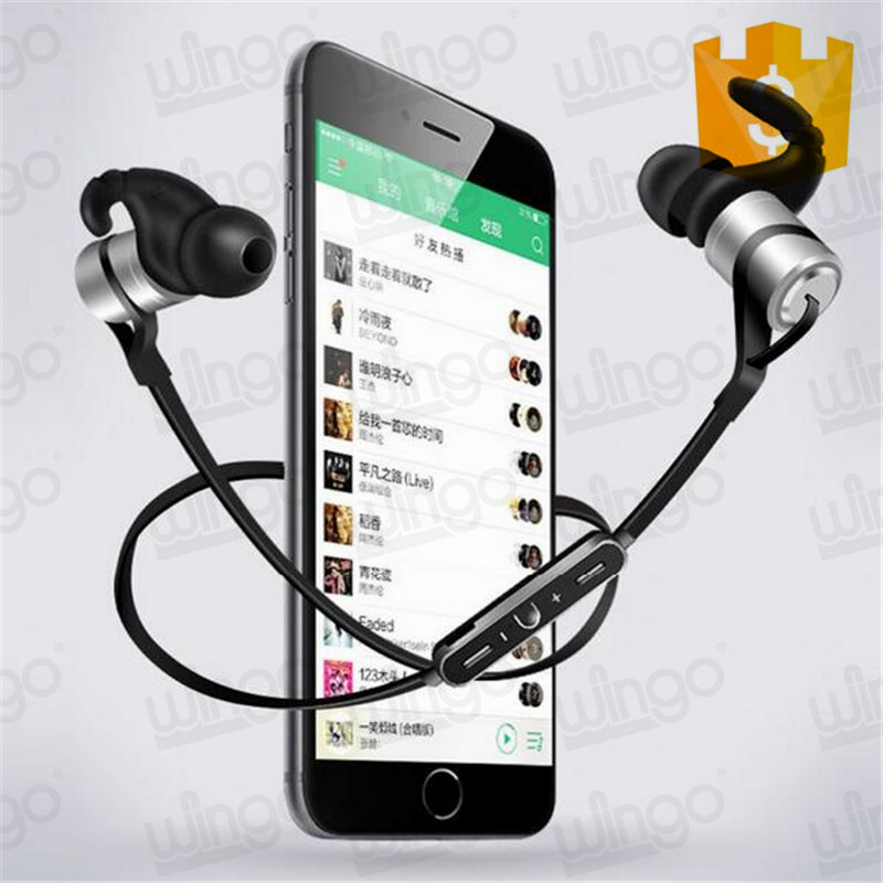 Sports Wireless Bluetooth Headset with Microphone Metal Noise Reduction Headphones for smart phone D9