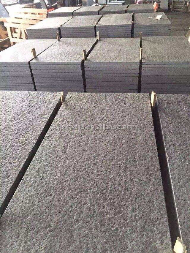 Flamed Mongolia Black Granite Floor Tiles