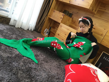 2017 latest scales mermaid blanket knitted blanket fish tail blanket from China supplier