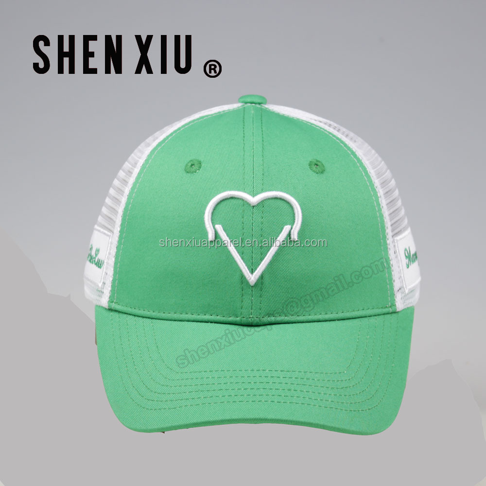 High quality 3D embroidery six panel green trucker hat wholesale china c21dca2dbda