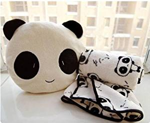 Lovely Cute Plush Panda Pillow Cushion Nap Car Sofa Bolster w/ Blanket 2 in 1