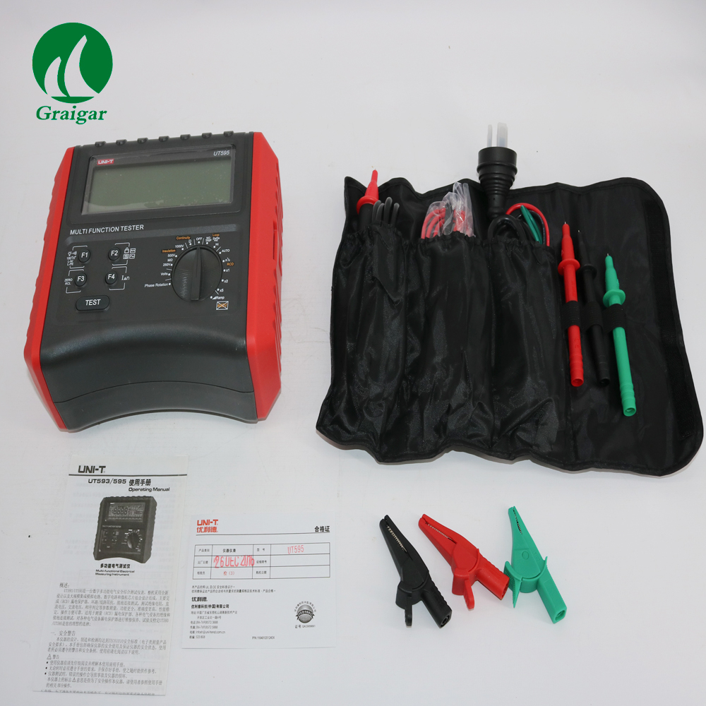 UNI-T UT595 digital RCD tester Multifunction Loop Testers Earth Ground Line Loop Impedance Tester Insulation Resistance Meter