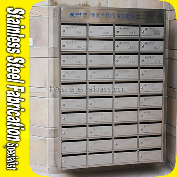 Commercial Stainless Steel Locking Office Mailboxes Newspaper Holder On Wall