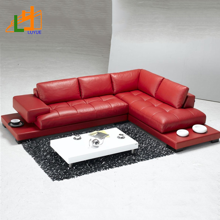 Chinese Red Genuine L Shaped Leather Corner Sofa Set - Buy L Shaped Sofa  Set,Chinese Leather Sofa,Leather Corner Sofa Product on Alibaba.com