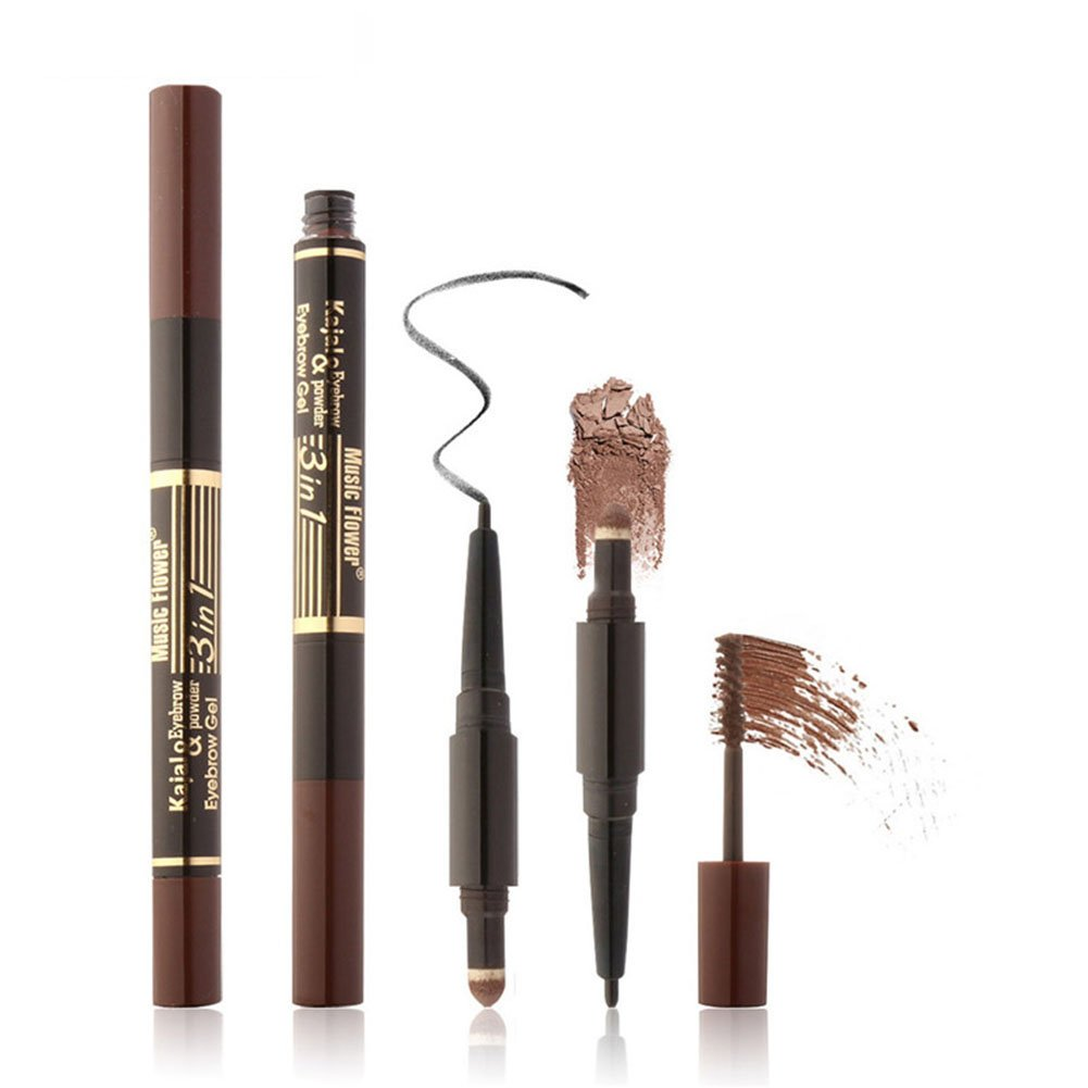 Vodisa 3 in 1 Waterproof Auto EyeBrow Pencil Pen Soft Eyebrow Powder Smooth Brow Mascara Beauty Cosmetic Makeup Cream Long-lasting Wear Eye Brows Filler Color with Tinted Eyebrow Gel Brush