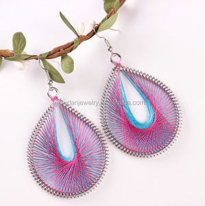 Metal Frame Handmade Dangle Crochet Silk Thread Earrings