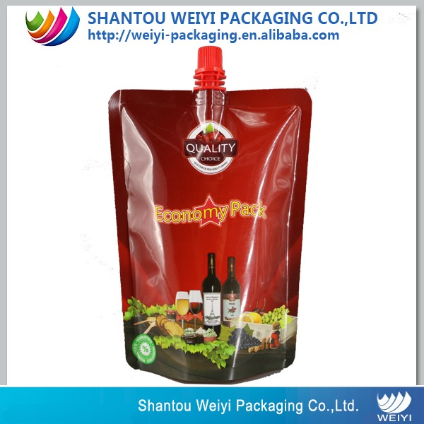 more specification stand up PE material wine spout pouch