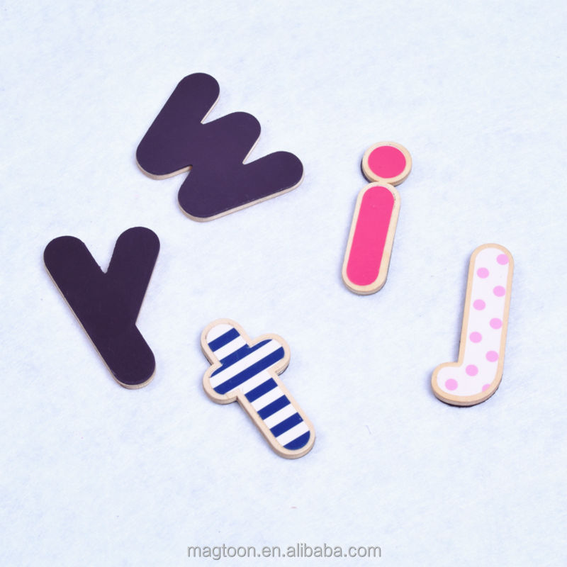 personalized wholesale cute kids magnetic wood alphabet letters with high quality