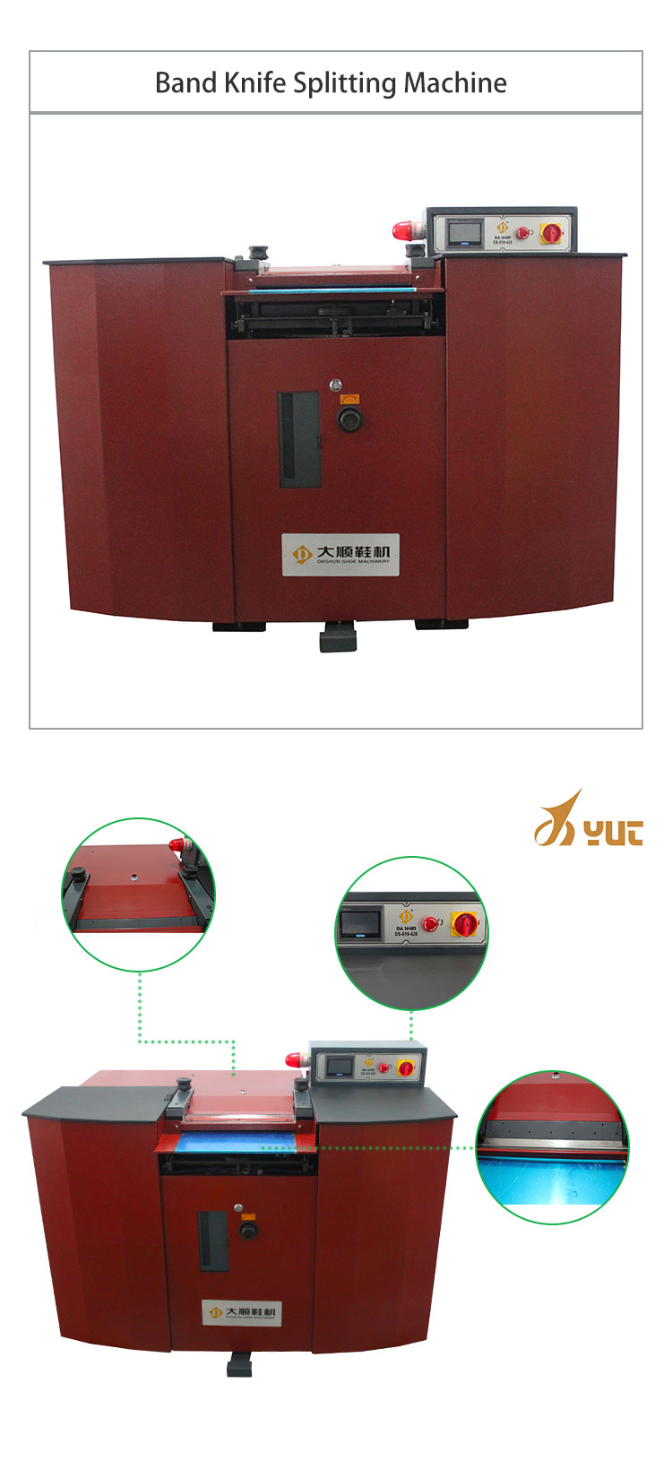 YT-818A-420 Leather Shoes Bags And Cases Band Knife Splitting Machine