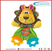 colored soft plush leo animal teether toy/plush lion toy