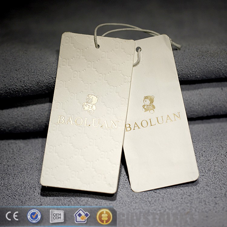Custom made embossed technics jeans paper hang tag Best price high quality