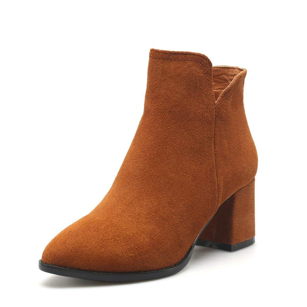be051758f8ae Get Quotations · Comfity Women s Western Chelsea Boots Pointed Toe Ankle  Booties Low Chunky Heels Sied Zipper Boot