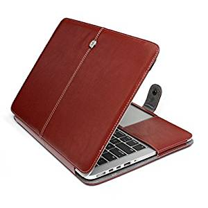 "HQF 13-inch Laptop Folio Case, Flip Case PU Leather Case Cover for Apple MacBook Air 13.3"" A1369/A1466 (Brown)"