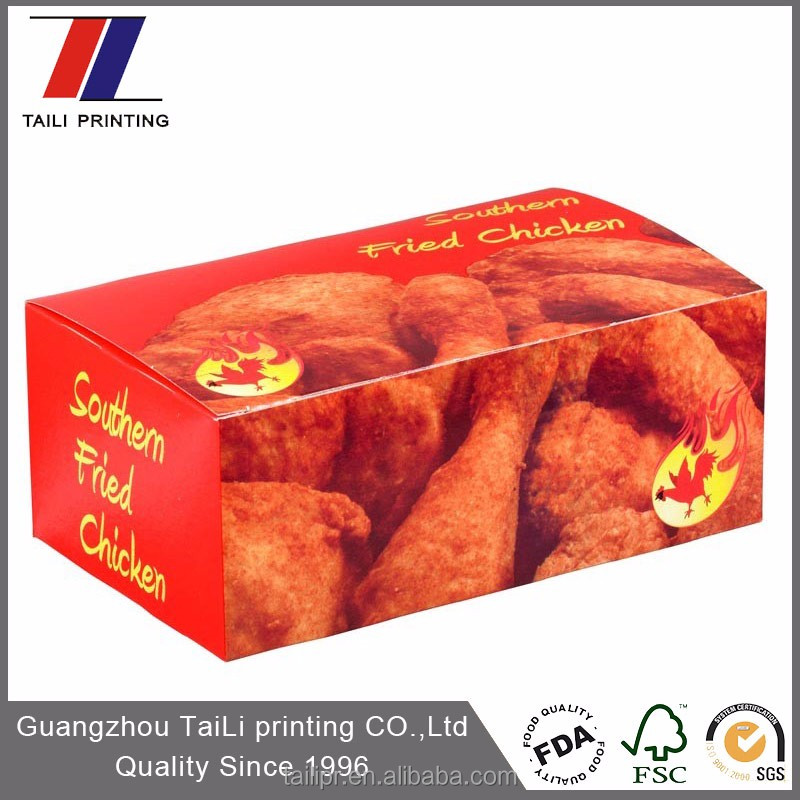 Custom printed paper fried chicken boxes/fried chicken packaging boxes