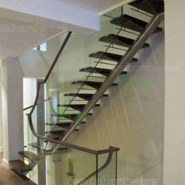 Double Stringer U Shape Tinted Glass Staircase In Black With Glass Treads