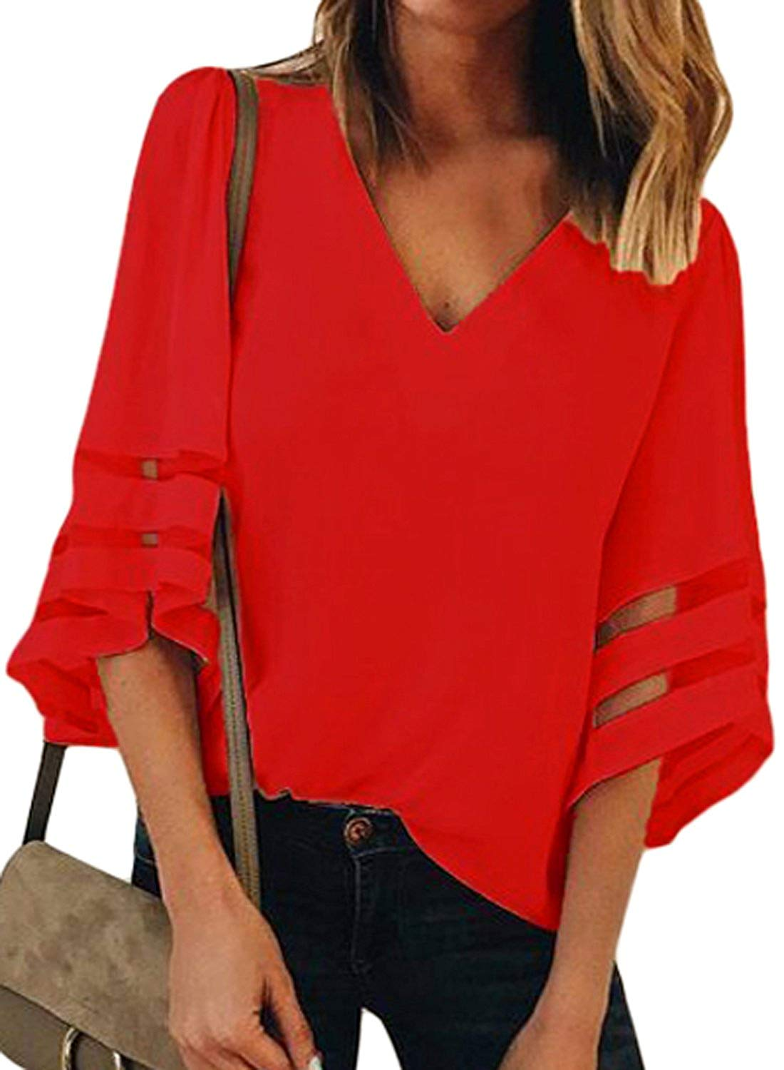 CILKOO Womens V Neck 3/4 Bell Sleeve Lace Patchwork Chiffon Blouse Tops(S-XXL)
