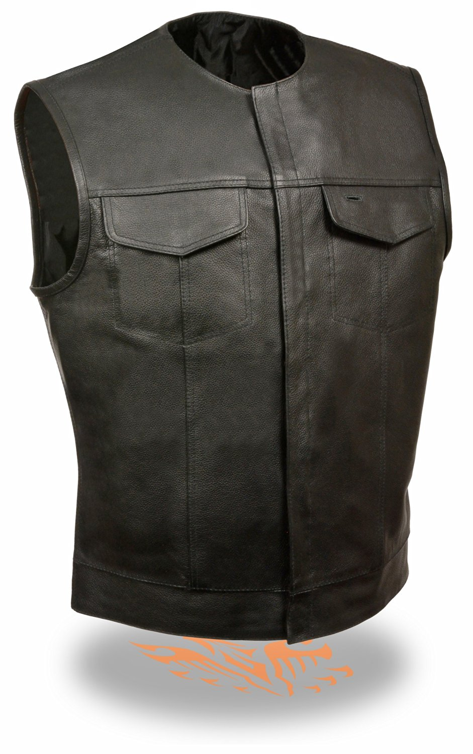Men's SOA Collarless Leather Vest w/ Dual Inside Gun Drop Pockets Perfect for Club Colors & Patches (Medium)