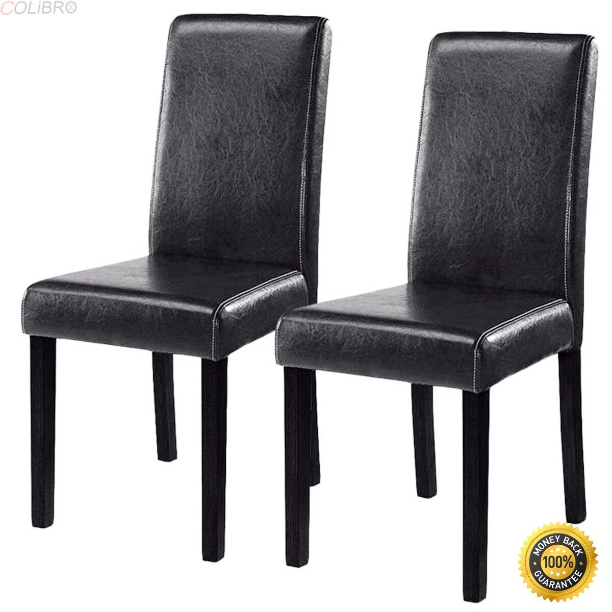 Get quotations · colibrox set of 2 black elegant design leather contemporary dining chairs home room