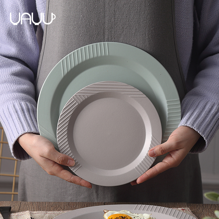 Attractive different color multiple used tableware round bulk porcelain dinner plate