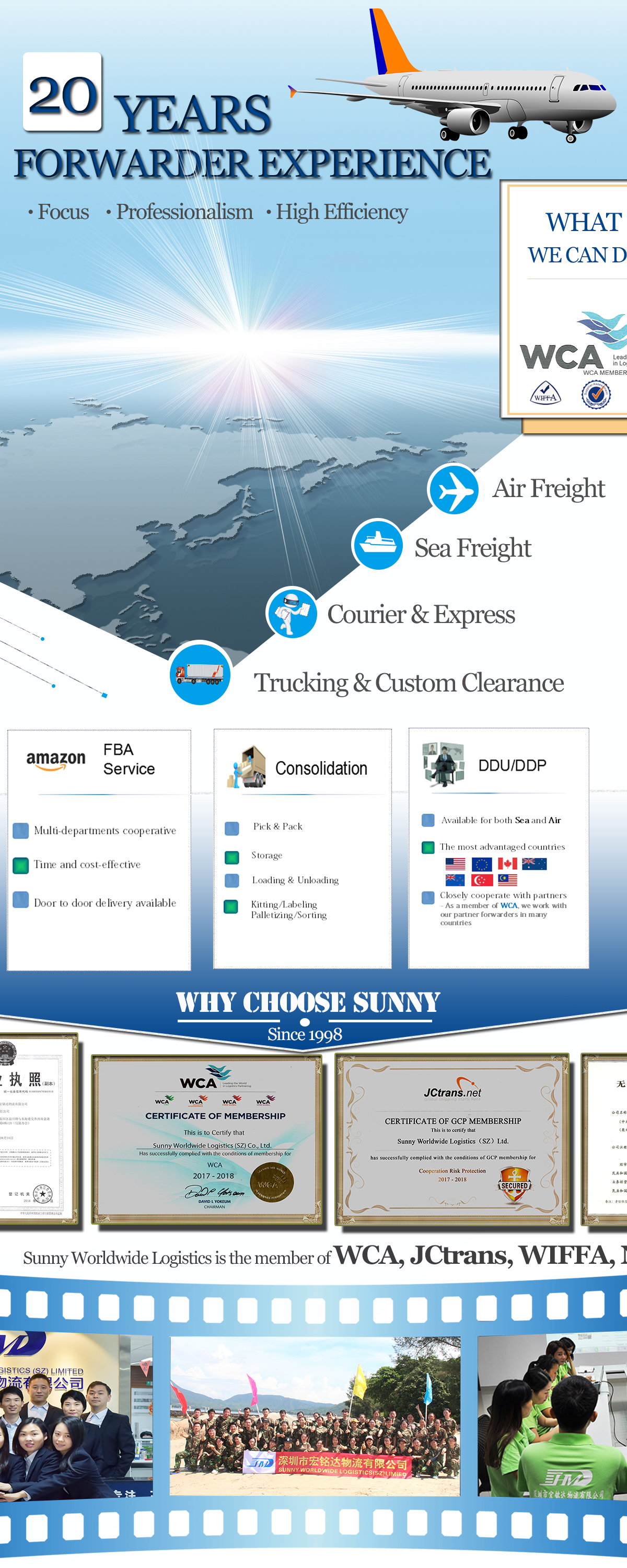 Sunny worldwide logistics forwarder