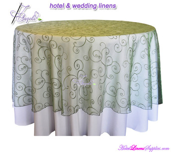 Round Swirl Embroidered Organza Wedding Table Overlays Toppers