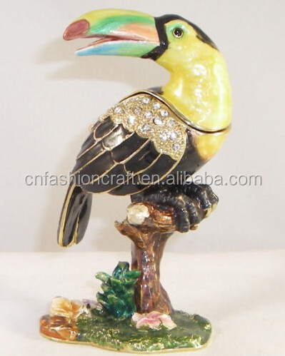 TROPICANA TOUCAN PEWTER BEJEWELED HINGED TRINKET JEWELTY PILL BOX