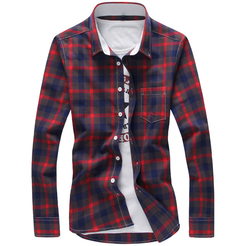 Buy Brand New 100% Cotton Plaid Men Shirt Mens Dress Shirts Slim ...