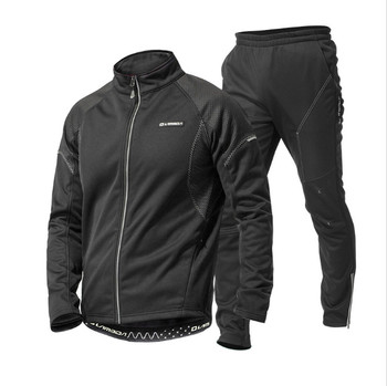 Mens Warm Thick Fleece Cycling Tracksuit Super Warm Winter