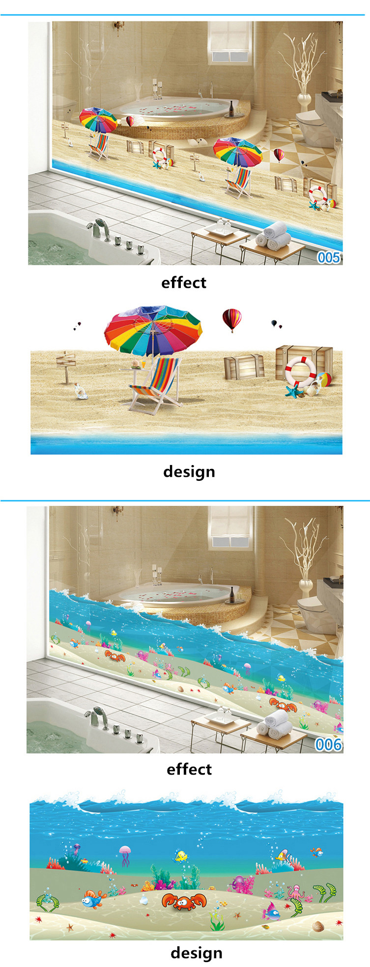 Product Name: BL005 Waterproof Bathroom Glass Two Way Vision 3D Beach Wall  Decals Sticker