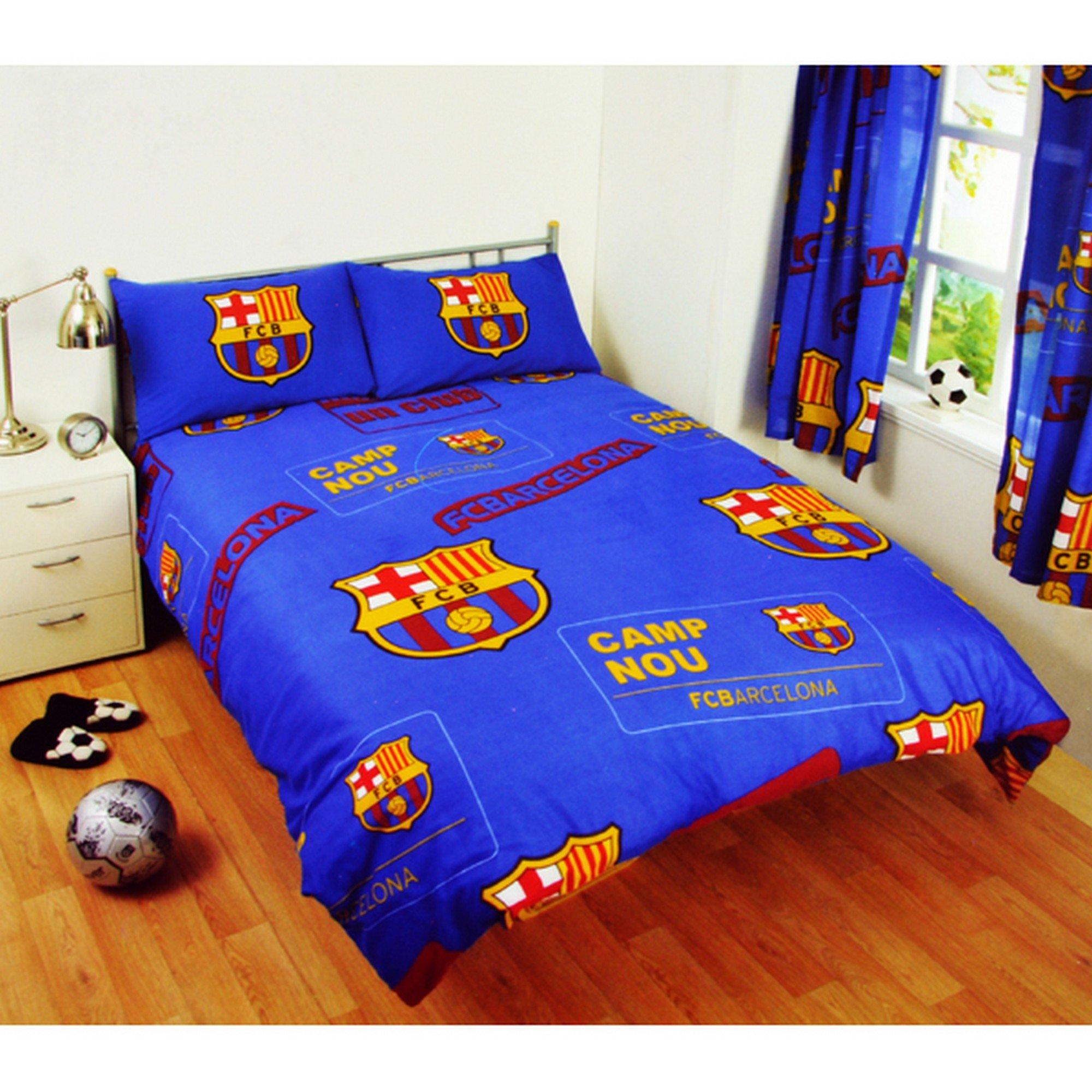 Get Quotations · FC Barcelona Official Patch Double Football Crest Duvet Set  (Double) (Blue)