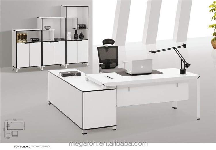 Classic office table models European style white office desk wood (FOH-N2220-2)
