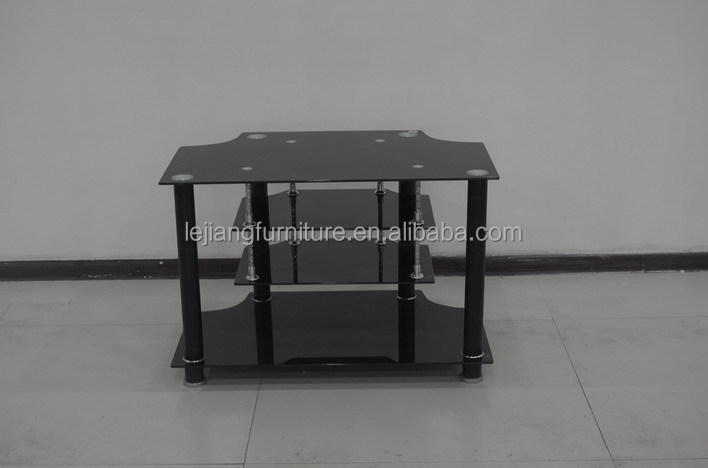 modern tempered glass TV stand with shelf