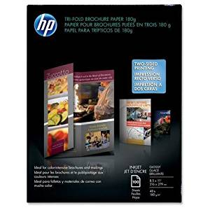 "HP Tri-Fold Brochure Paper,8-1/2""x11"",48Lb,100 Sheets,WE/Glossy (C7020A)"