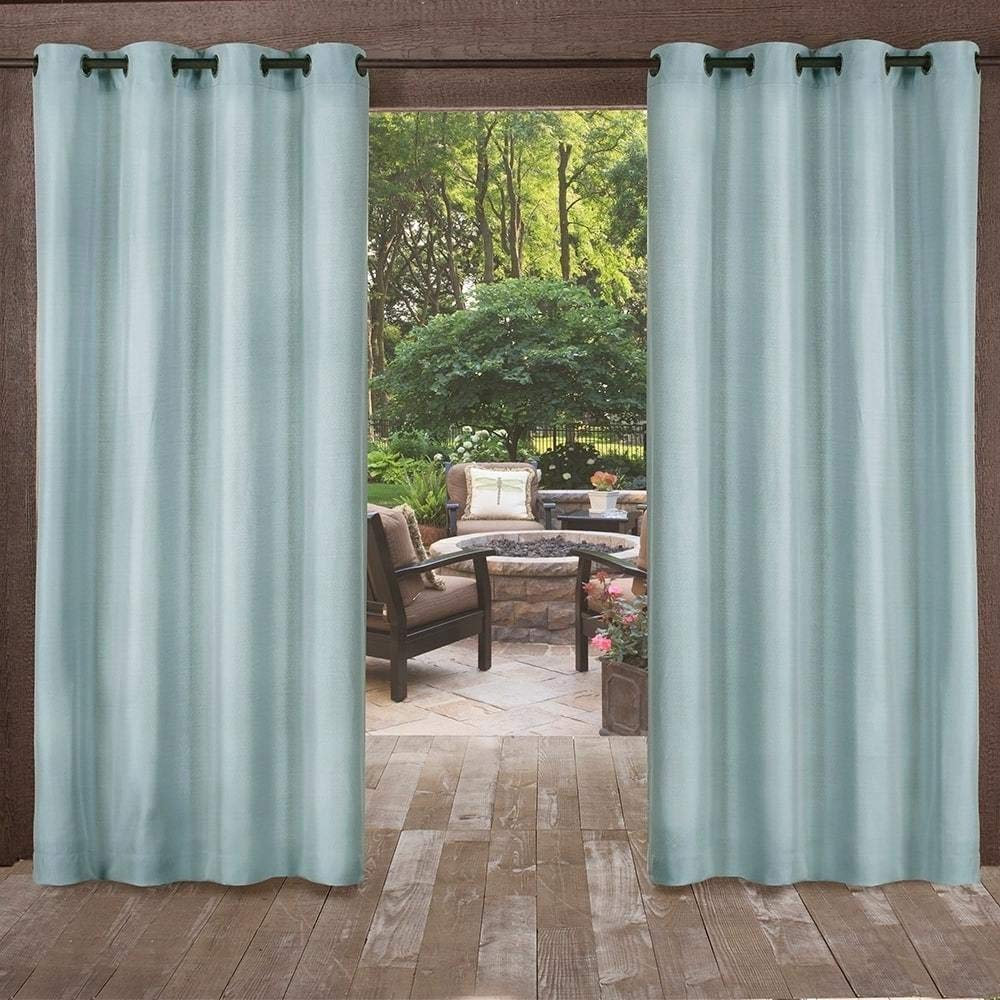 UK4 2 Piece 84 Inch Pool Blue Indoor Outdoor Two Tone Textured Gazebo Curtain, Blue Window Treatment Panel Pair, Patio Porch Cabana Dock Grommet Top Pergola Drapes, Casual Contemporary Polyester
