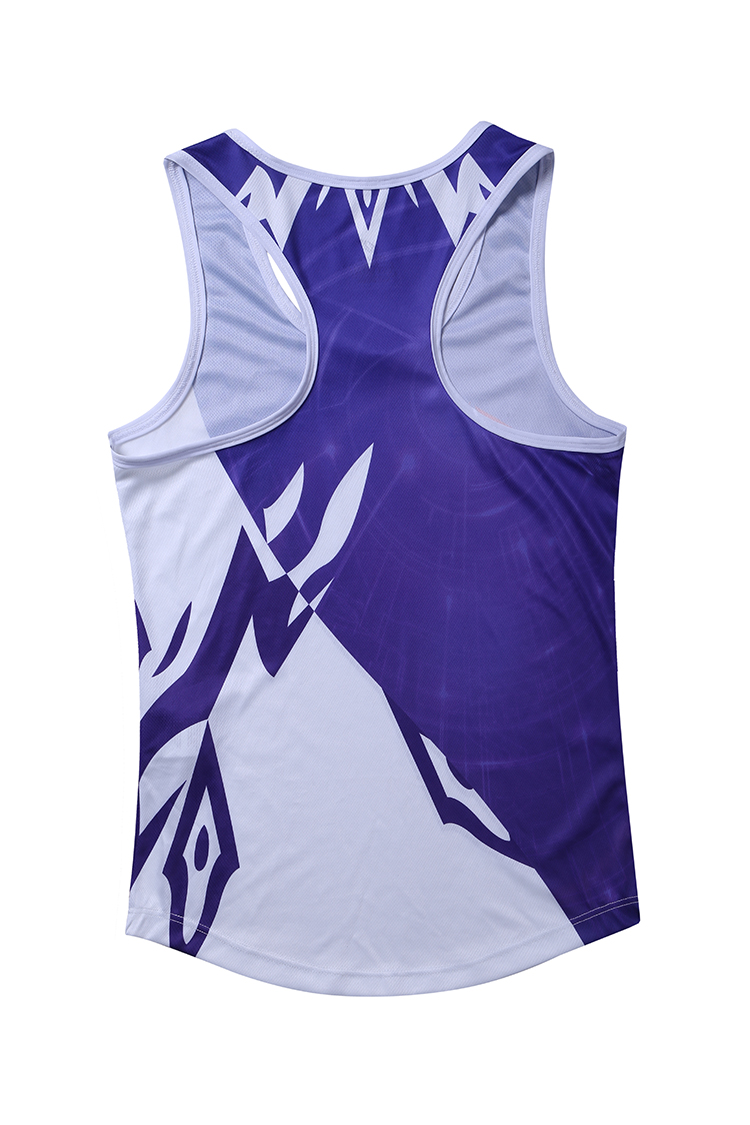 Wholesale Customized Running Wear Breathable Sublimation Purple And White Sport Wear Men Running Wear
