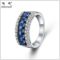 Sun Star Classic 7-stones sterling 925 silver ring with inlaying diamond in blue cubic zirconia