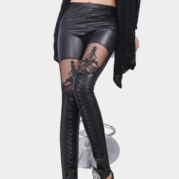 e424fdb69c8 Get Quotations · Brand new leather leggings Personalized Lace stitching  ribbon lady 9 pants different unique Punk fashion leather