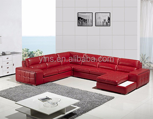 Modern design red pu leather living room microfiber 7 seater sofa set